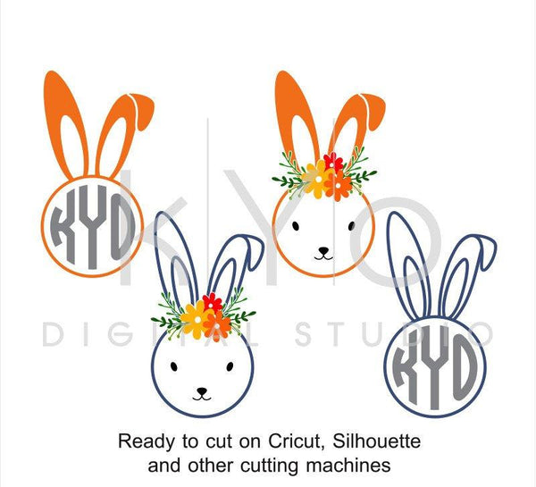 Easter Bunny SVG cut files, Easter Rabbit svg, Circle Monogram SVG, Easter svg, cuttable svg files for Cricut and Silhouette Cameo #svg-kYoDigitalStudio