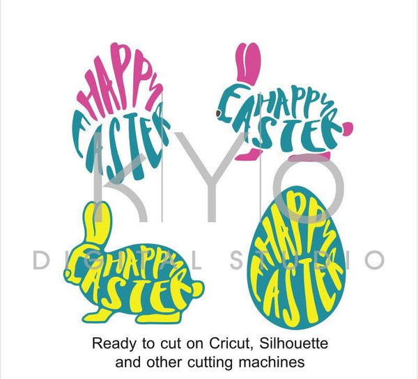 Easter Bunny SVG cut files, Easter egg svg, Easter Rabbit SVG, Happy Easter svg, cuttable svg files for Cricut and Silhouette Cameo #svg-kYoDigitalStudio