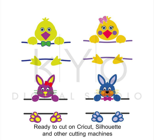 Bunny svg, Chick svg, Bunny Split svg, Chick Split svg, Easter svg, Easter Bunny Chick svg files for Cricut and Silhouette Studio-kYoDigitalStudio
