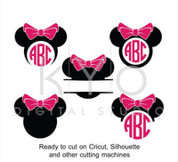 Minnie Ears SVG cut files, Disney Mouse Ears SVG, Mouse Head svg, Minnie Mouse monogram svg, Minnie svg file for Cricut and Silhouette Cameo-kYoDigitalStudio