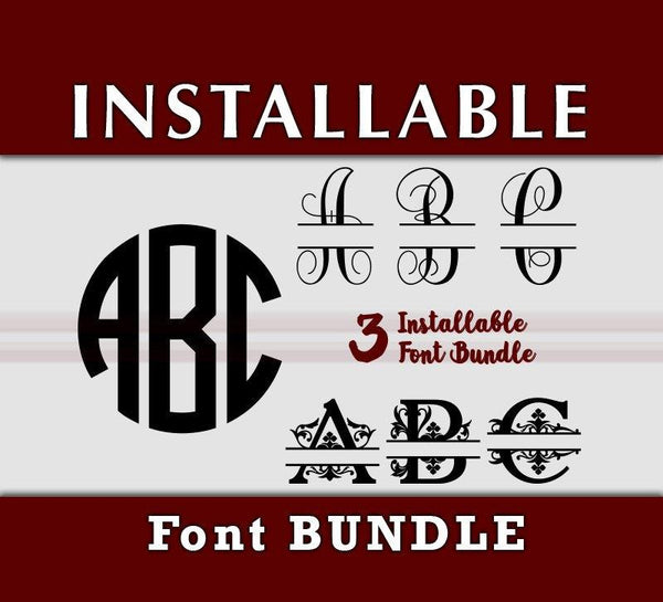 True Type Monogram Font Bundle - Cricut Monogram, Split Vine, Split Regal TTF OTF Fonts-kYoDigitalStudio