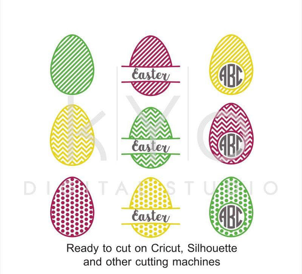Easter SVG Egg Patterned Circle Split Monogram svg dxf png eps cut files for Cricut Explore and Silhouette Cameo-kYoDigitalStudio