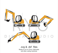 Digger SVG cut file, Excavator SVG DXF, Ground works svg, Construction svg, cutting files for Cricut Explore and Silhouette Cameo-kYoDigitalStudio