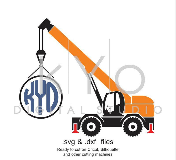 Construction and Transportation SVG cut file, Crane SVG, Circle Monogram frame svg, cutting files for Cricut Explore and Silhouette Cameo-kYoDigitalStudio