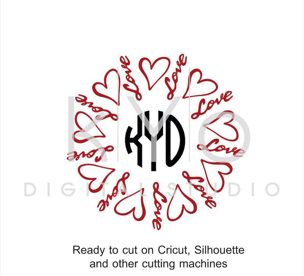 Love SVG cut files, Love heart SVG, Valentines day SVG, Love lettering cut files, hand lettered svg files for Cricut and Silhouette-kYoDigitalStudio