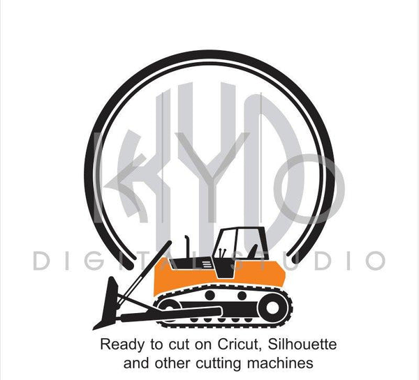 Construction and Transportation SVG cut file, Bulldozer SVG, Circle Monogram frame svg, files for Cricut Explore and Silhouette Cameo-kYoDigitalStudio