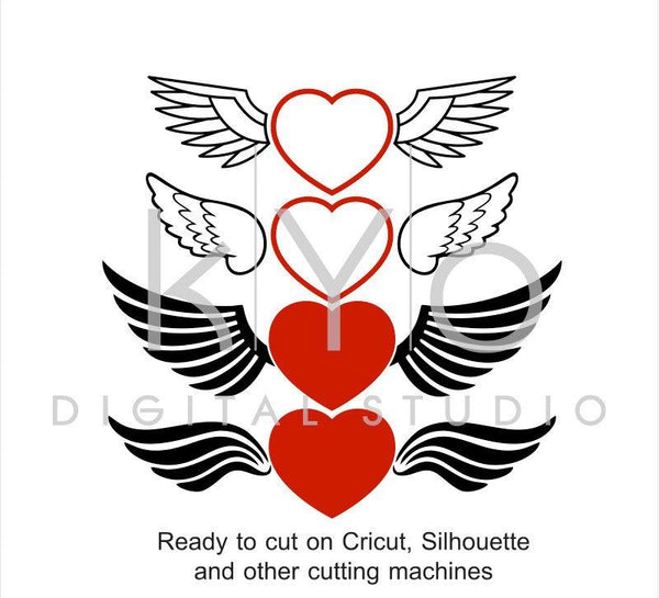 Love Heart with Wings Valentines Day SVG files for Cricut Silhouette-kYoDigitalStudio