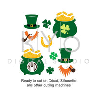 St Patricks Day SVG cut and print files, St Patricks gold pot hat clover shamrock SVG, cuttable svg files for Cricut and Silhouette #svg-kYoDigitalStudio