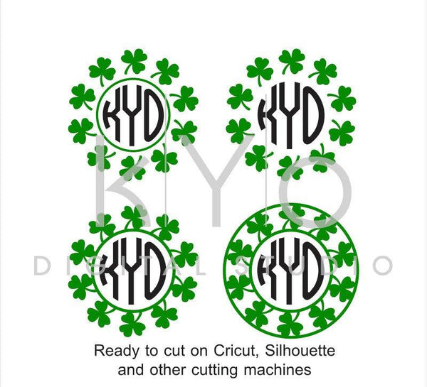 St Patrick's Day SVG Monogram Frame Clover Shamrock Irish SVG Cut Files for Cricut Silhouette Brother Scan N Cut-kYoDigitalStudio