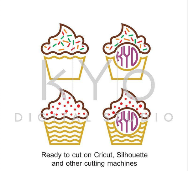 Cupcake SVG files, Cupcake Monogram dxf png eps cut and print files, Cupcakes Sprinkles svg, svg files for Cricut and Silhouette, svg files-kYoDigitalStudio