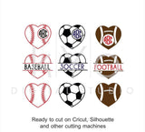 Sport SVG, Heart Ball SVG, Basketball Football Soccer Baseball Volleyball Tennis ball svg, studio dxf svg files for Cricut and Silhouette-kYoDigitalStudio