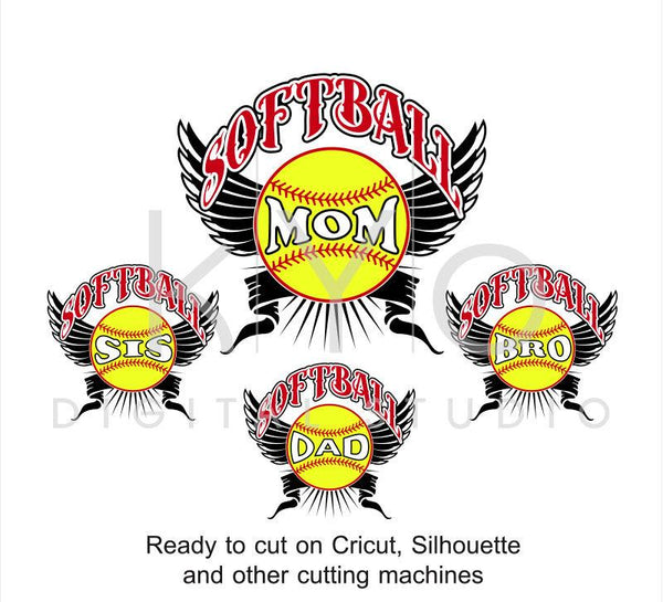 Softball Mom Dad Bro Sis family SVG PNG DXF EPS cut files bundle-kYoDigitalStudio