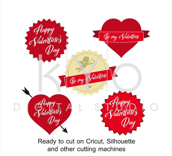Letter Wax Seal Cupid Happy Valentines Day Love Heart svg files for Cricut and Silhouette-kYoDigitalStudio