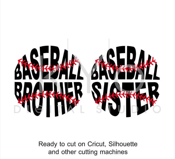 Baseball SVG, Baseball Brother SVG, Baseball Sister svg, Baseball Stitches svg, svg cut files for Cricut and Silhouette-kYoDigitalStudio