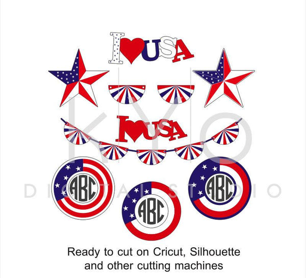 4th of July American US flag svg png dxf eps files Stars and stripes Circle Monogram Star for Cricut Silhouette I love USA Banting pattern-kYoDigitalStudio
