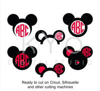 Mickey Ears SVG cut files, Disney Mouse Ears SVG, Mouse Head svg, Mouse monogram, Mickey svg files for Cricut and Silhouette Cameo #svg-kYoDigitalStudio