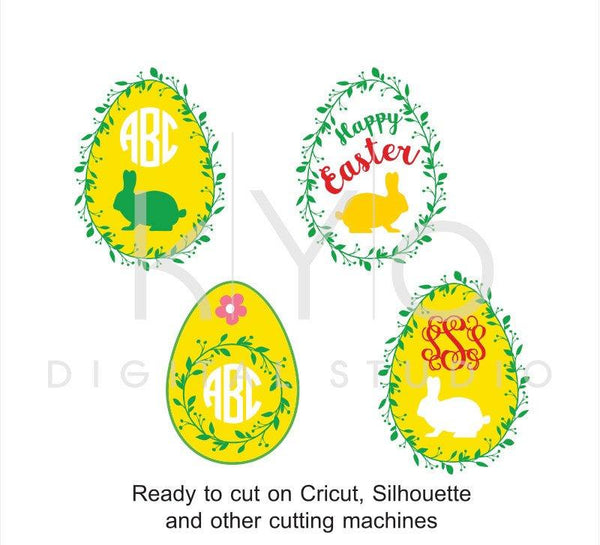 Easter Egg SVG cut files, Easter Monogram SVG, Easter bunny svg, Happy Easter svg, Wreath svg cuttable svg files for Cricut and Silhouette-kYoDigitalStudio