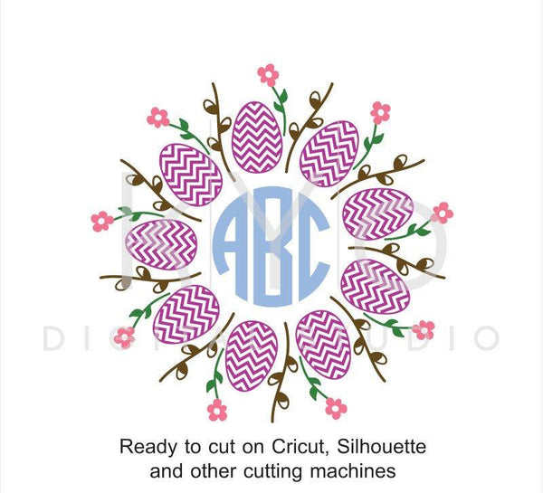 Easter Egg Pussy willow svg, Monogram frame SVG cut files, Easter Monogram SVG, Flower svg cuttable svg files for Cricut and Silhouette-kYoDigitalStudio