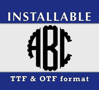Scalloped Circle Monogram True Type font - OTF and TTF format-kYoDigitalStudio