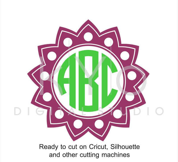 Circle Monogram Frame Sun SVG files for Cricut Explore Silhouette Cameo-kYoDigitalStudio