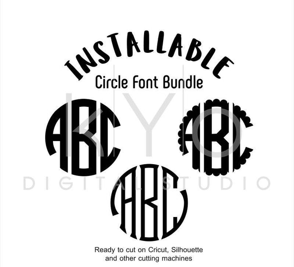 True Type Circle Monogram Font bundle in TTF and OTF formats for Cricut Design Space, Silhouette Studio, Adobe Illustrator, Adobe Photoshop, Corel Draw - kYoDigitalStudio
