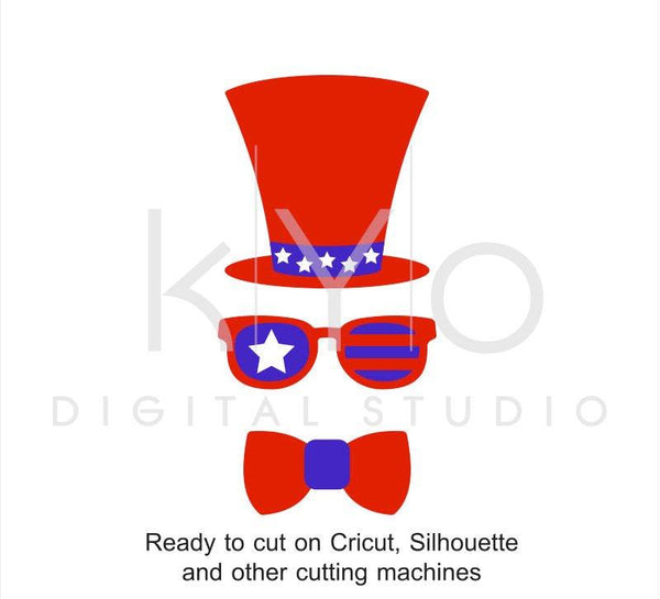 4th of July Hat Glasses Bow svg American US Flag svg Fourth of July svg Uncle Sam Independence Day SVG files for Cricut Silhouette Brother-kYoDigitalStudio