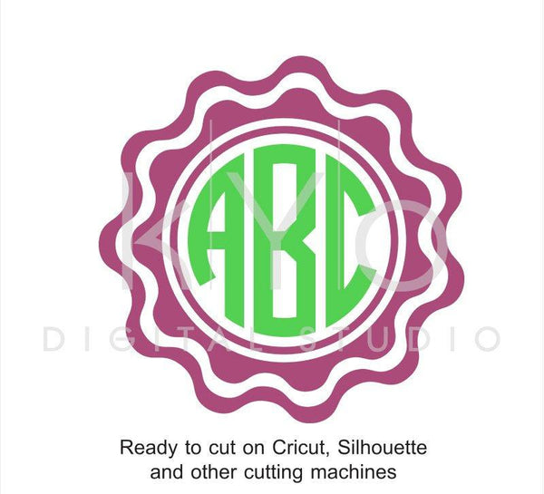 Scalloped Circle Monogram Frame SVG files for Cricut Explore Silhouette Cameo-kYoDigitalStudio