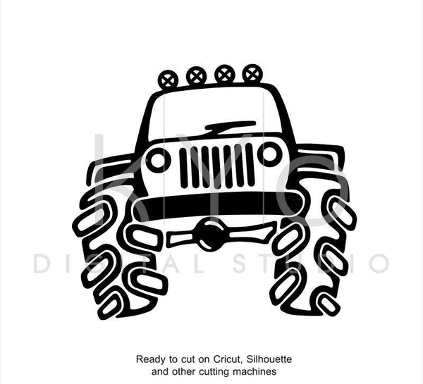 Jeep Off Road Big 4x4 Truck Hand Draw Svg Dxf Png Eps AI files for Cricut Explore and Silhouette Cameo-kYoDigitalStudio