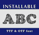 Zebra Print ttf otf Installable true type font Letters and Numbers typing keyboard digital windows mac for cricut silhouette-kYoDigitalStudio
