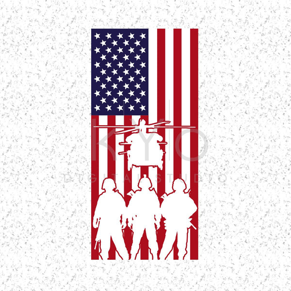 American Flag With Military Silhouettes Svg Veterans Day svg files Presidents Day svg Memorial day svg US military svg American flag svg-kYoDigitalStudio