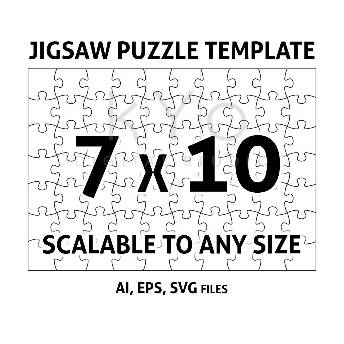 It is an image of Printable Jigsaw Puzzle Template for maker