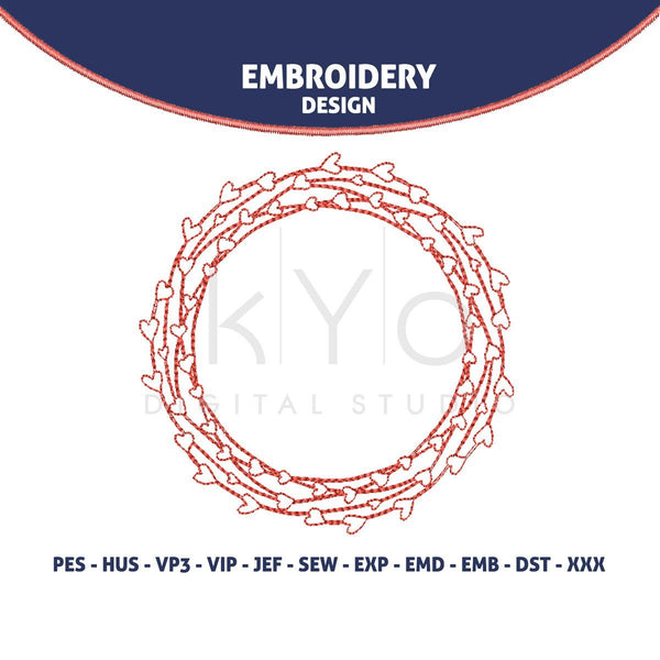 Valentine Embroidery design 4x4 Wired Heart Wedding monogram frame embroidery-kYoDigitalStudio