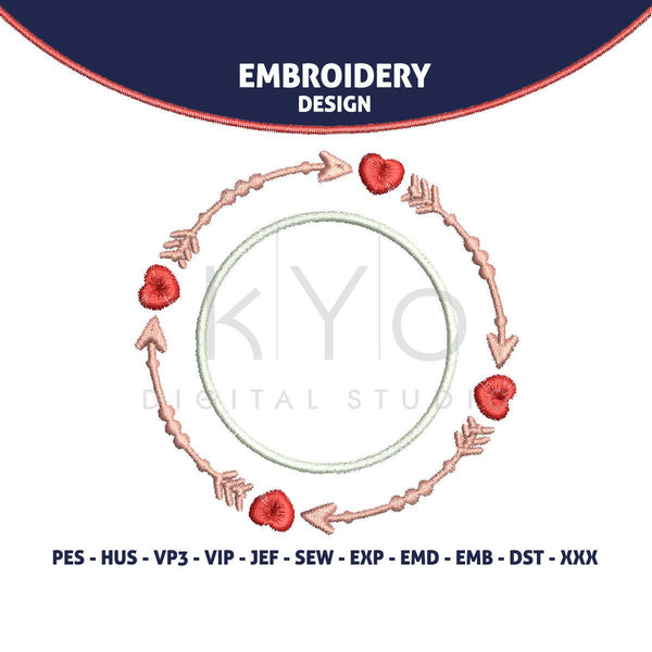 Valentine Embroidery design 4x4 Heart, Arrow, Wedding monogram frame embroidery-kYoDigitalStudio