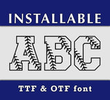 Baseball Stitches TTF font, true type font, Installable font, Softball Stitches letters, digital font, Cricut font, Silhouette Cameo font-kYoDigitalStudio