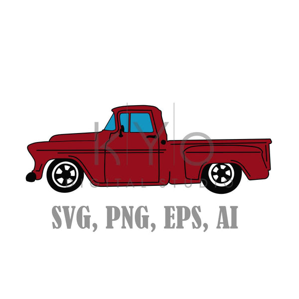 Old Truck SVG files, Old Chevy Svg files, Red Old Retro Pickup truck, Chevrolet pickup truck-kYoDigitalStudio