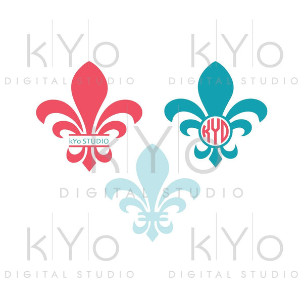 Fleur de lis monogram svg Mardi Gras svg Circle Split monogram svg Png Studio3 Dxf Commercial use svg for Cricut Silhouette files-kYoDigitalStudio