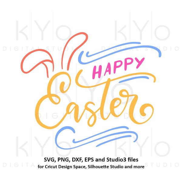 Happy Easter svg Easter bunny ears SVG Easter SVG Easter quote svg Easter egg svg files for Cricut Explore Silhouette Cameo-kYoDigitalStudio