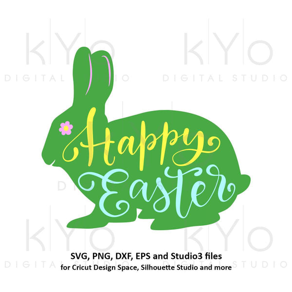 Happy Easter svg Easter bunny SVG egg hunting svg Hand lettered Easter quote tshirt design svg files for Cricut Explore Silhouette Cameo-kYoDigitalStudio
