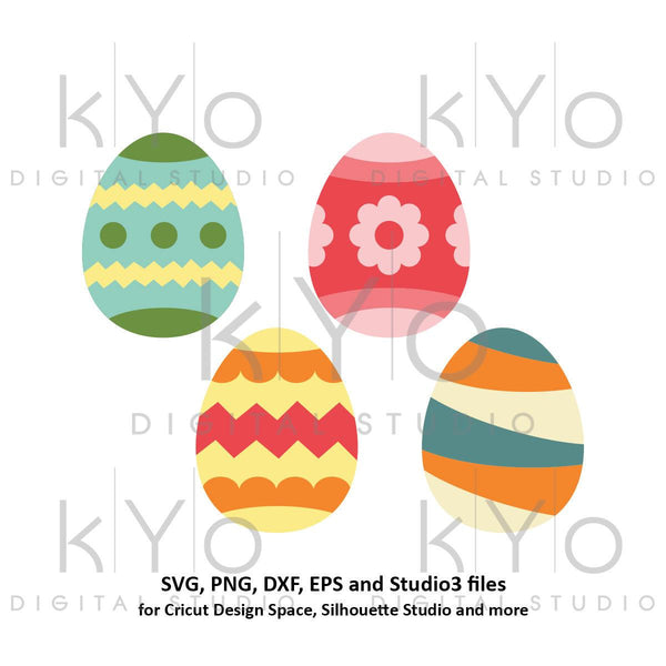 Patterned Easter Egg SVG PNG DXF files bundle-kYoDigitalStudio