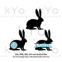 Easter Bunny Rabbit Monogram svg Easter bunny ears SVG Easter monogram split SVG files for Cricut Explore Silhouette Cameo-kYoDigitalStudio