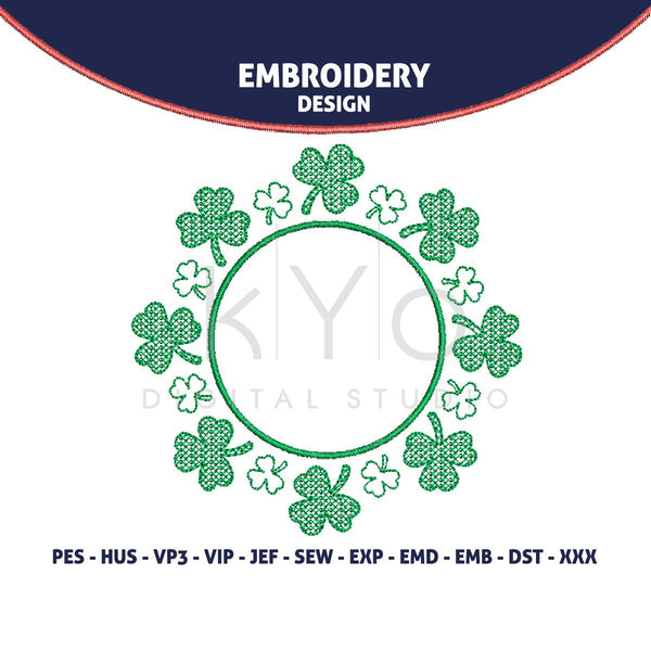St Patricks Day Shamrock Embroidery design, Clover machine embroidery monogram frame, HUS exp JEF vip VP3 PES embroidery files designs-kYoDigitalStudio