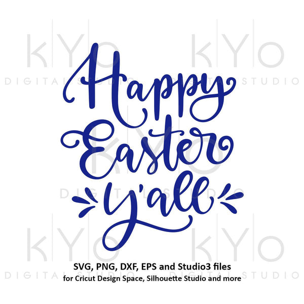 Happy Easter Yall svg Happy Easter SVG Hand lettered svg Easter quote svg tshirt design svg files for Cricut Explore Silhouette Cameo-kYoDigitalStudio