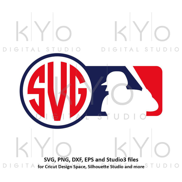Baseball SVG MLB logo inspired Monogram Frame svg Baseball monogram svg Stitches svg baseball logo svg png for cricut silhouette studio3-kYoDigitalStudio