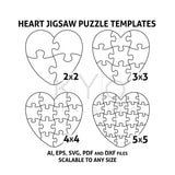 Heart Jigsaw Puzzle Templates AI EPS SVG pdf dxf files, Heart Shape Puzzle Template svg, Scalable puzzle template, printable puzzle template-kYoDigitalStudio
