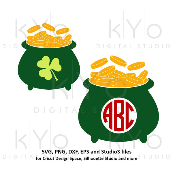 St Patricks Day Pot of gold svg, Lucky svg, Irish svg, pot of gold monogram svg png dxf svg files for Cricut and Silhouette saint patricks-kYoDigitalStudio