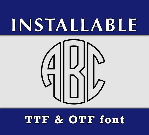 Outline Circle Monogram True Type font - OTF and TTF format-kYoDigitalStudio