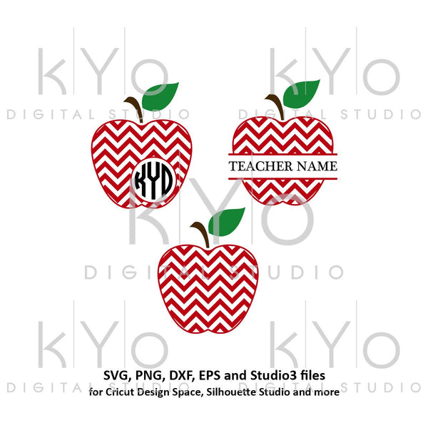 Chevron Pattern Apple svg Teacher Monogram svg Apple Monogram SVG Teachers day svg files School SVG cutting files for Cricut Silhouette-kYoDigitalStudio
