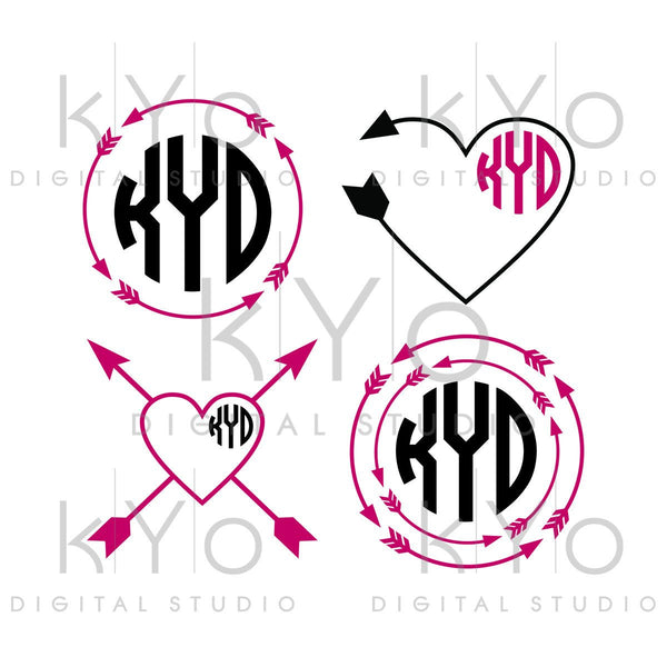 Arrow SVG Valentines day svg Heart SVG Heart monogram svg arrow monogram svg studio3 png dxf iron on decal design Commercial use svg-kYoDigitalStudio