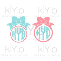Girl Bow Monogram frame shirt design SVG PNG DXF files-kYoDigitalStudio