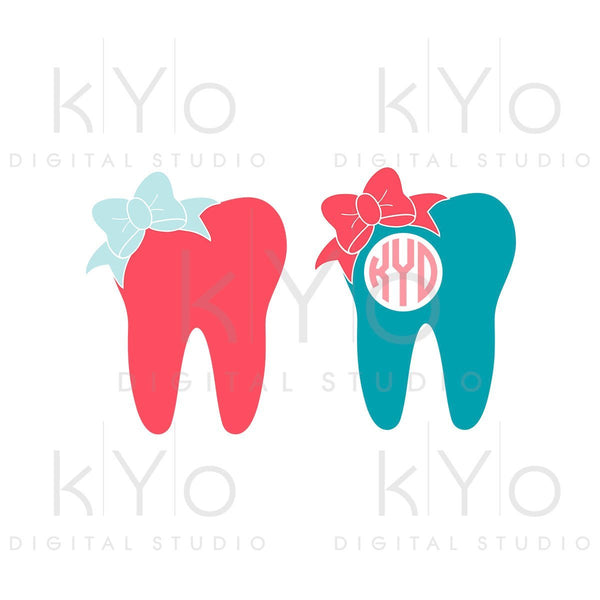 Dentist svg Tooth svg Bow svg Tooth fairy svg Tooth monogram svg SVG Png Studio3 Dxf Commercial use svg for Cricut Silhouette files-kYoDigitalStudio